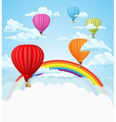 Air balloon rainbow vector