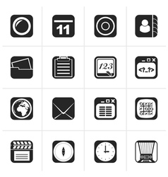 Black mobile phone and communication icons vector