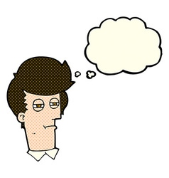 Cartoon man with narrowed eyes with thought bubble vector