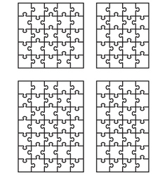 Four white puzzles 5 vector