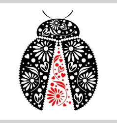 Icon of decorative ornamental black ladybug vector