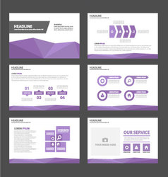 Purple polygon presentation templates flat design vector