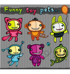 Cute toys animals vector