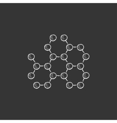 Molecule drawn in chalk icon vector