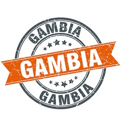 Gambia red round grunge vintage ribbon stamp vector