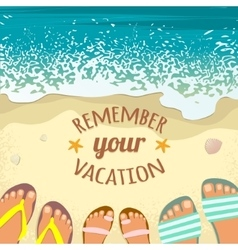Summer background with sea sand beach sandals vector