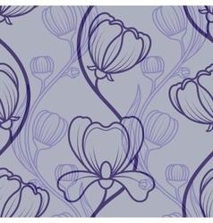 Floral blue vintage seamless background vector image
