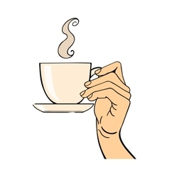 Human hand coffe cup pose vector