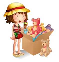 A young girl beside a box of toys vector image