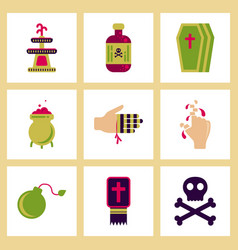 assembly flat icons halloween symbols vector image vector image