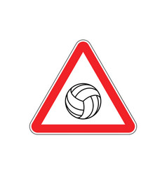 attention volleyball danger red road sign games vector image