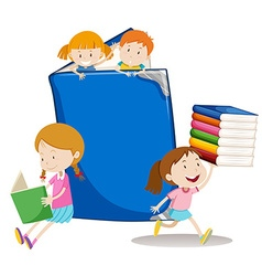 Boys and girls with big book vector image