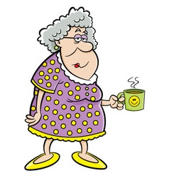 Cartoon old lady holding a mug vector image vector image