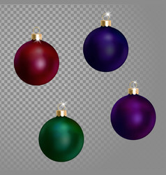 collection of christmas ball tree decoration dark vector image vector image