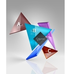 Colorful glossy glass triangle on empty 3d space vector image vector image
