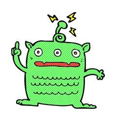 comic cartoon weird little alien vector image