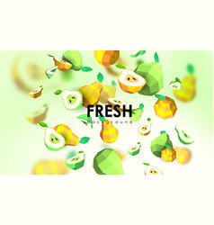 Creative background with low poly fruit vector