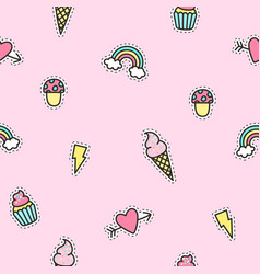 cute objects pattern with pink background vector image vector image