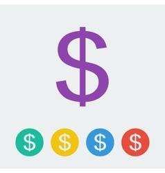 dollar flat circle icon vector image
