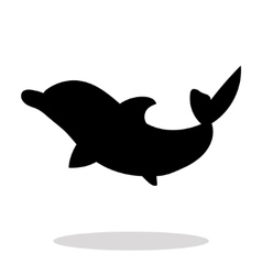 Dolphin sea animal black silhouette vector image