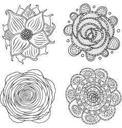 doodle mandala set - coloring page for adults vector image vector image