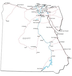Egypt Outline Map Set Royalty Free Vector Image - Map of egypt vector