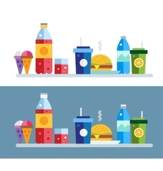 Fast food objects set vector image