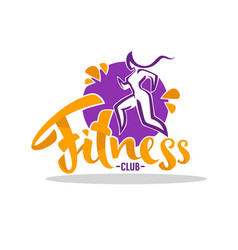 Fitness club logo woman doing sport with vector