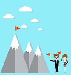 Flag on mountain success vector image vector image