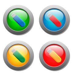 Flash card icon set on glass buttons vector image vector image