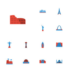 Flat icons coliseum america waterfall and other vector