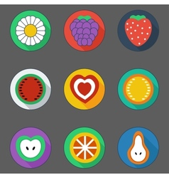 flat summer icons vector image vector image