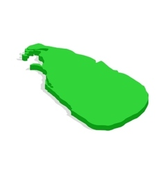 Green map of Sri Lanka icon isometric 3d style vector image