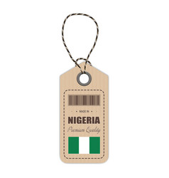 hang tag made in nigeria with flag icon isolated vector image vector image