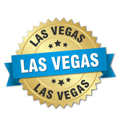 Las vegas round golden badge with blue ribbon vector