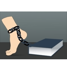 Leg in chain and book vector