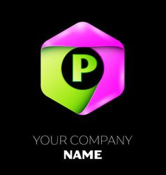 Letter p logo symbol in colorful hexagonal vector