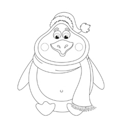 New years cute penguin in hat and scarf sits vector