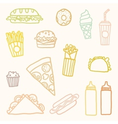 Outline astfood cartoon set vector image