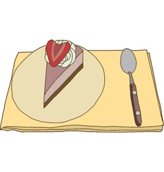 Piece of strawberry cake vector image vector image