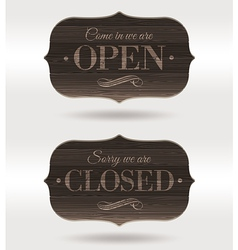Retro wooden signs - open and closed vector