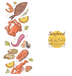 Seafood healthy products restaurant menu template vector