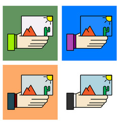 Set of hand holds photos icon multimedia photo vector