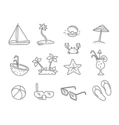 Set of teaser icons for tourist site presentation vector