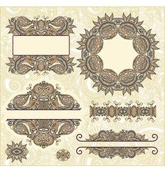 Set of vintage floral frame element for design vector