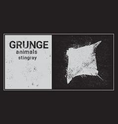 Silhouette stingray in grunge design style animal vector