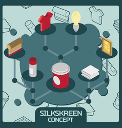 silkskreen color isometric concept icons vector image vector image