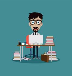 Stressful businessman working behind office desk vector