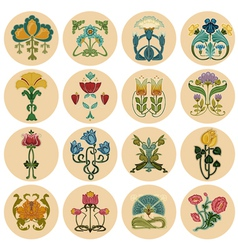 Vintage Flowers Label Set vector image