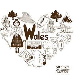 Wales symbols in heart shape concept vector image vector image